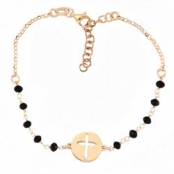 Rosario a bracciale argento ramato con Croce Grano 3 mm