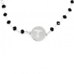 Rosary Bracelet Rhodium Silver & Tau Cross Grain 3 mm