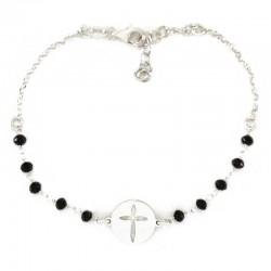 Rosario a bracciale argento rodiato con Croce Grano 3 mm