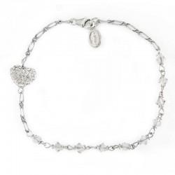 Rosary Bracelet Rhodium Silver Swarovski Grain 4 mm