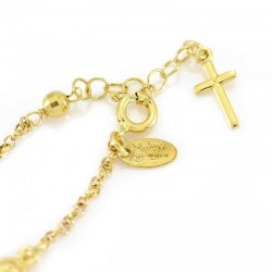 Rosary Bracelet Golden Silver and Onyx Grain 4 mm