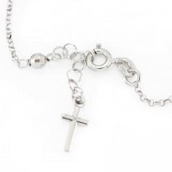 Rosary Bracelet Rhodium Silver and Onyx Grain 4 mm
