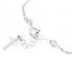 Rosary Bracelet Rhodium Silver Rhinestone Grain 4 mm
