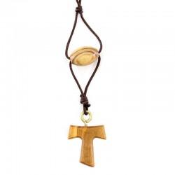 Rosary Bracelet with Tau Olive Wood Grain 8x13 mm