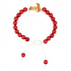Rosario a bracciale legno rosso con Tau Grano 7 mm