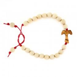 Rosario a bracciale legno avorio con Tau Grano 7 mm