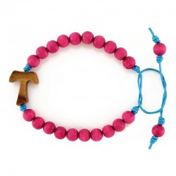 Purple Wood Rosary Bracelet with Tau Grain 7 mm