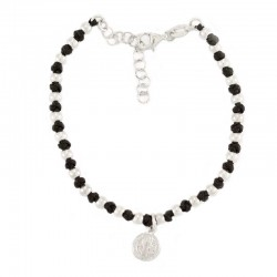 Silver Bracelet with St. Benedict medal & Knots Grain 3.5 mm