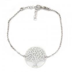 Rhodium Plated Silver Bracelet Tree of Life medal Diameter 24 mm