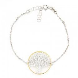 Bracciale argento bicolore albero della vita diametro 24 mm