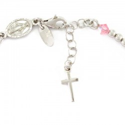 Rosario bracciale argento rodiato swarovski rosa