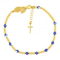 Rosario bracciale argento dorato swarovski celeste