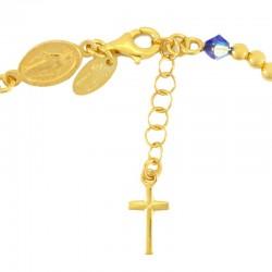 Rosary bracelet gilded silver light blue swarovski