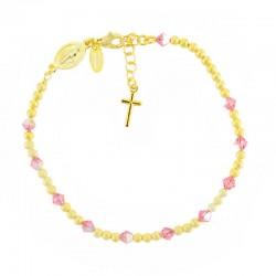 Rosario bracciale argento dorato swarovski rosa