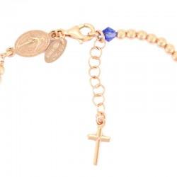 Rosary bracelet copper silver light blue swarovski