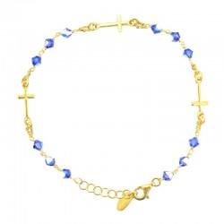 Rosario bracciale argento dorato Croci swarovski celeste