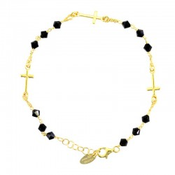 Rosario bracciale argento dorato Croci swarovski nero