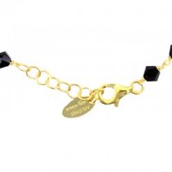 Rosary bracelet gilded silver Crosses black swarovski