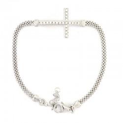 Silver rope Bracelet with rhinestones
