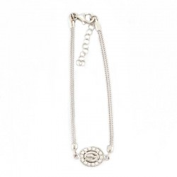 Silver rope bracelet with medal