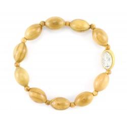 Elastic Rosary Bracelet Olive Wood grain 10x6 mm