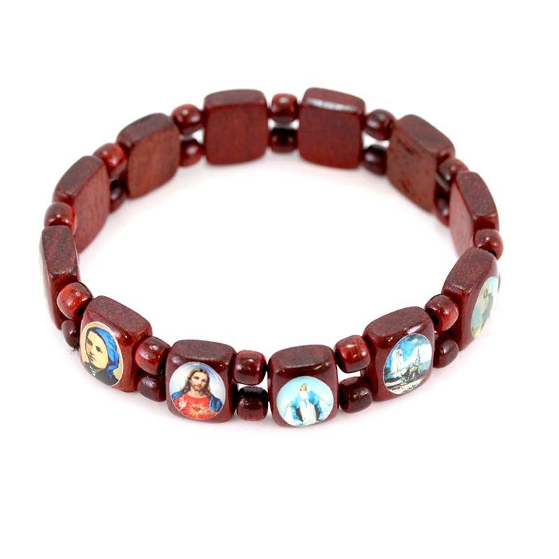 amazon online in vendita colori delicati Rosario a bracciale elastico 14 Santi smaltati