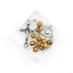 Single Decade Rosary Light Wood grain 6 mm