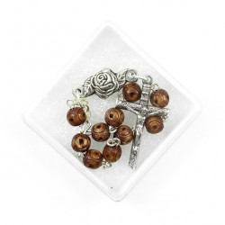 Single Decade Rosary Carved Wood grain 6 mm