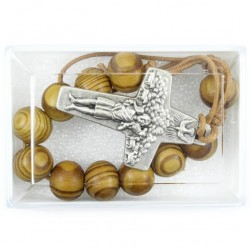 Single Decade Rosary Cord Olive Wood grain 10 mm