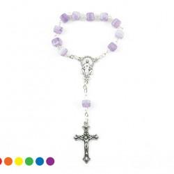 Single Decade Rosary Glass Cubic grain 7 mm