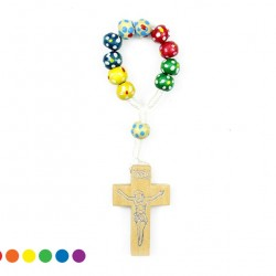 Single Decade Rosary Cord Painted grain 6 mm