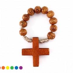 Single Decade Rosary Cord Wooden grain 6 mm