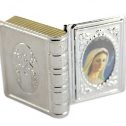 Book with Medjugorje Metal Rosary Case 5x3 cm