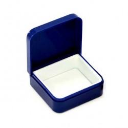 Rectangular case in blue plastic 4.5x4x1.7 cm