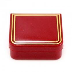 Astuccio rettangolare in plastica rosso 4,5x4x1,7 cm
