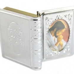 Book with Jesus Metal Rosary Case 6x5 cm