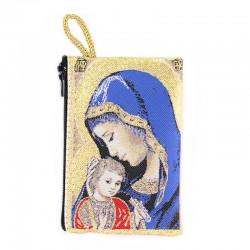 Borsellino Madonna con Bambino blu 7x10 cm
