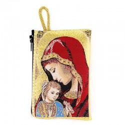 Borsellino Madonna con Bambino rosso 7x10 cm