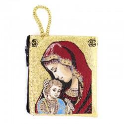 Borsellino Madonna con Bambino rosso 6,6x7,2 cm