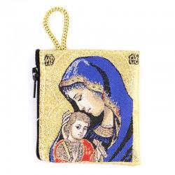Borsellino Madonna con Bambino blu 6,6x7,2 cm