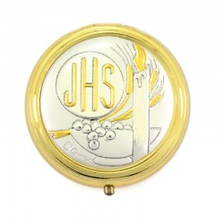 Rosary Case Candle in golden metal diameter 5 cm