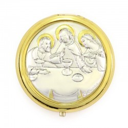 Rosary Case Last Supper in golden metal diameter 5 cm