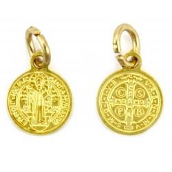 Medaglia San Benedetto in acciaio dorato Diametro 1 cm