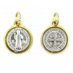 Medaglia San Benedetto in metallo bordo oro Diametro 1,2 cm