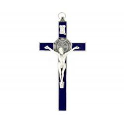 Croce San Benedetto metallo smaltato blu 10x20 cm