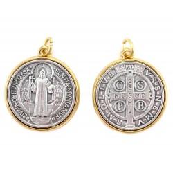 Medaglia San Benedetto bordo oro Diametro 3,4 cm