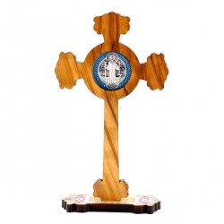 Olive wood Crucifix St. Benedict with Base 12 cm