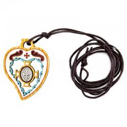 Pendente in legno cuore San Benedetto 3x4,2 cm