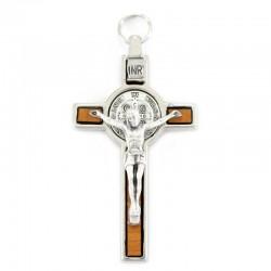 Saint Benedict cross in wood and metal 4,2x8 cm