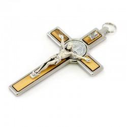 Saint Benedict cross in wood and metal  7,5x13 cm